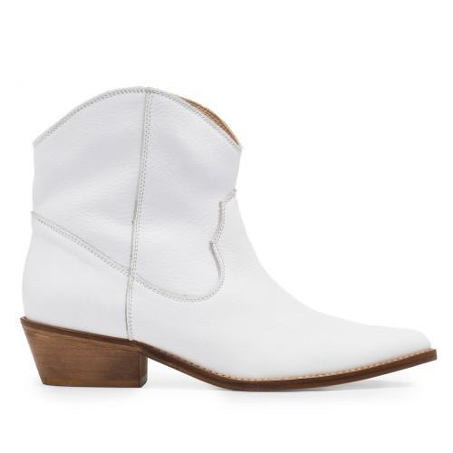 Bota Cowboy Tacón Medio Piel Blanco - Eva López